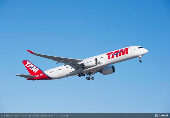 Volo inaugurale per il primo Airbus A350 XWB di TAM Airlines